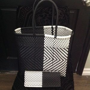 Hand woven bag and wallet made out of plastic